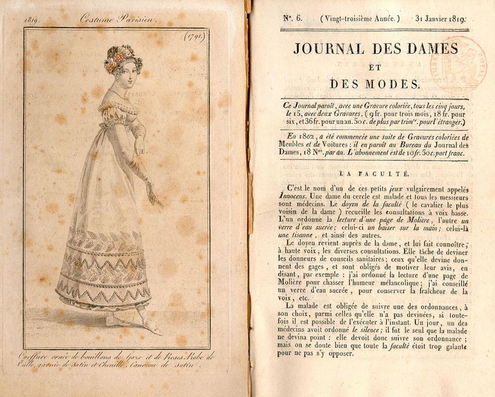 Journal des dames et des modes la facult janvier 1819 - Le journal de la mode ...